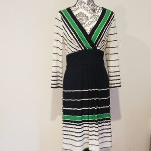 Eliza J Black, White and Green Print Dress
